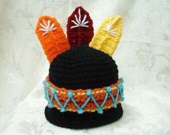 Lil Indian Boy Hat - crochet - Sizes newborn to Toddler