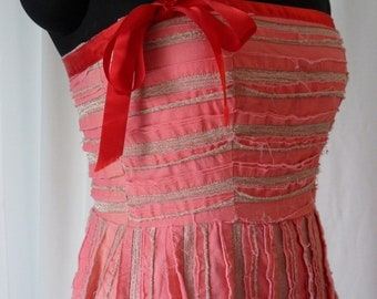 SALE 90's upcycled shreddded distressed & faded  strapless corset bustier dress in coral and metallic gold: size 8 US