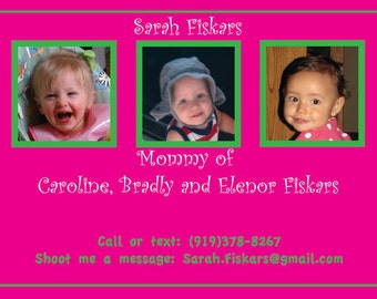 Mommy Business Card- The easiest way to share your contact information for that playdate for your child.
