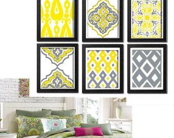 Wall Art Ikat Yellow Grey White Wall Art Vintage / Modern Inspired -Set of (6) - 8x10 Prints -  (UNFRAMED)