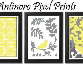 Yellow Bird  Vintage / Modern inspired Art Prints Collection  -Set of 3 - 8 x 11 Prints - Yellow Grey White (UNFRAMED)