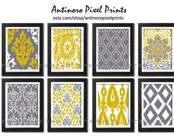 Digital Print Wall Art Mustard Yellow Grey Vintage / Modern inspired Wall Art -Set of (8) - 11x14 Prints -   (UNFRAMED)