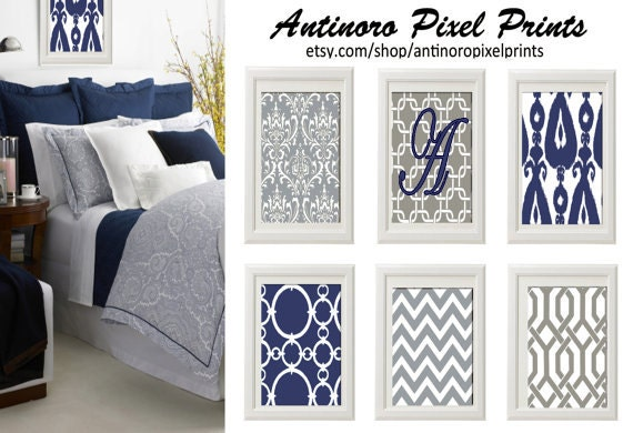 Personalized Navy Blue Grey White Wall Art Vintage / Modern Inspired -Set of 6 - 5x7 Prints -  (UNFRAMED)