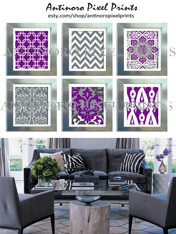 purple grey ikat wall art prints modern inspired set of 6. Black Bedroom Furniture Sets. Home Design Ideas