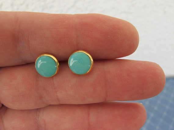 Turquoise stud earrings.Gold 8 or 6mm post Earrings turquoise color.Stainless  posts .High Quality Fully handmade.