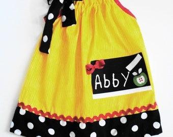 Custom Boutique Back To School Chalk Board Pillowcase Dress
