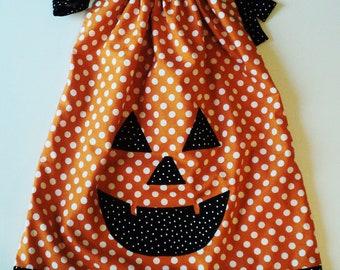 Halloween Pumkin Bumkin Pillow Case Dress Sizes 0-6 mo, 6-12mo, 12-18mo, 18-24mo, 2t, 3t, 4t, 5/6, 7/8