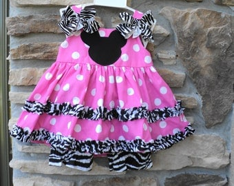 Custom Boutique  Classic Zebra Minnie Mouse Inspired Dress w/Bloomers  Sizes 0-6mo, 6-12mo, 12-18mo, 18-24mo, 2t, 3t, 4t, 5/6, 7/8