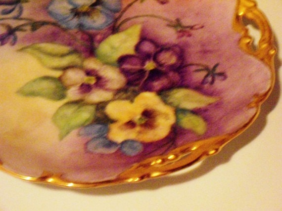 Vintage Vanity Jewelry Tray, dresser jewelry tray, Decorative Floral Plate,1950s, Porcelain, purple flowers, spring floral
