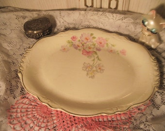 Vintage Platter,Vintage Dishes, Vintage Pottery Really Pretty Pottery Platter with Flowers on It and Scalloped  Edging  PRETTY