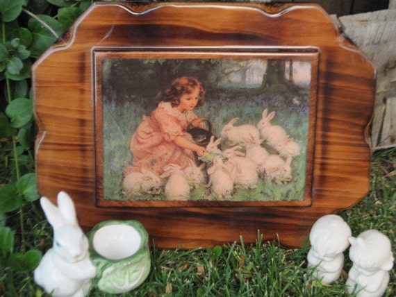 SALE 25 % OFF / Coupon Code /SPECIALFORYOU101 / Sweet Little Picture of Little Girl and Bunnies  By Prestige Products