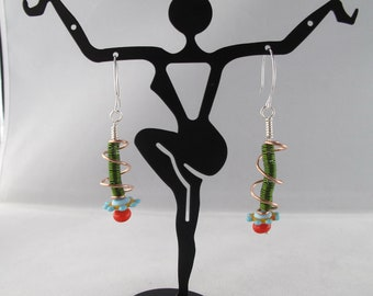 Green Coils in Copper Cages with Lampwork Flower Disk Drop Earrings