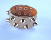 Cappuccino  Leather Spiked Cuff