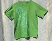 Batik T-Shirt - Youth Large - Green/Blue - Lizard - Hand Dyed