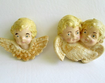 Sale Christmas Angels Bisque Cherubs Christmas Ornaments Holidays, Scioto 1980s