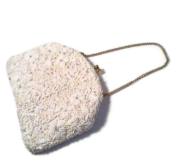 Vintage White Beaded Purse Kiss Clasp Richere Mad Men Chic