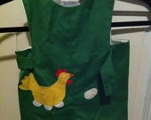 Vintage Florence Eiseman for Dena Carll Green Romper with Chicken pocket and eggs, Sz 12mo