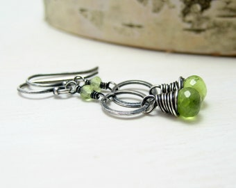Peridot Earrings, Oxidized Sterling Silver Lime Green Gemstone Earrings Wire Wrapped August Birthstone Earrings