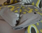 Dwell IKAT Duvet cover-Robert Allen Dwell-Batavia IKAT Citrine Yellow-Grey-Chocolate Brown Linen