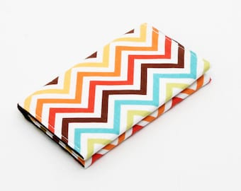 Business card holder small wallet business card wallet gift card case - rainbow chevron