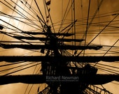 Mast & Rigging,  tall ship art, copper and black, 11 x 14 photograph