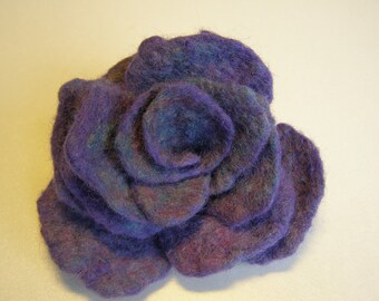 Felted Flower Brooch, Blue & Purple Rose