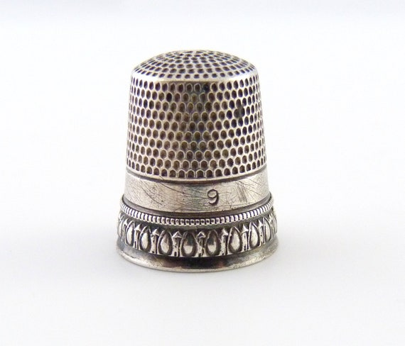Vintage Sterling Silver Thimble - Silver Sewing Accessory - Number 9 Thimble
