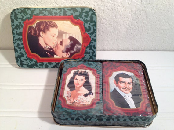 Gone With The Wind Playing Cards & Tin 1989, Vintage Gone with the Wind Playing Cards, Scarlett and Rhett Playing Cards 2 Decks