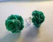 Rose cabochon turquoise stud Earring
