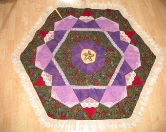 Quilted Christmas Tree Skirt Winter Flowers 26