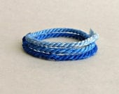 Electric Blue Double Wrap Rope Bracelet in Ombre - Wish Friendship Boho Hippie Summer and Fall Handmade OOAK