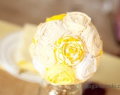 Set of four fabric flower large bridesmaid bouquets