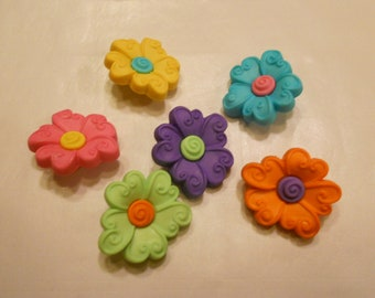 6 piece acrylic flower button set, 20 mm (8)