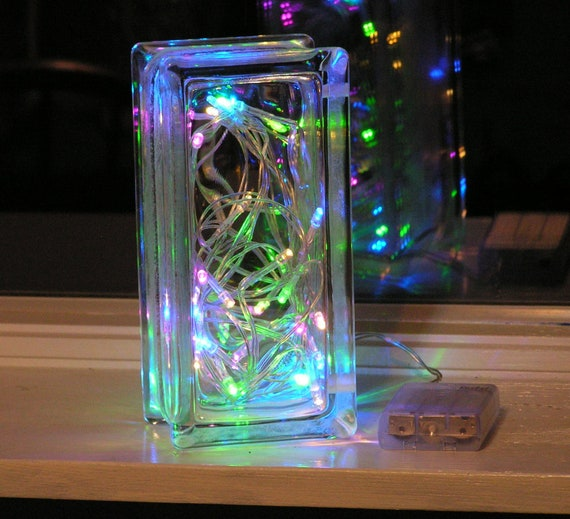 Beautiful Glass Block Light With Multi Colored Pastel Led