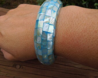 Vintage MOP Bangle.  Mother of Pearl.  Blue Base, Solid Bangle, Nice, Hand Made