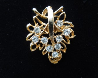 Vintage Rhinestone Brooch, Gold Tone, Floral Design