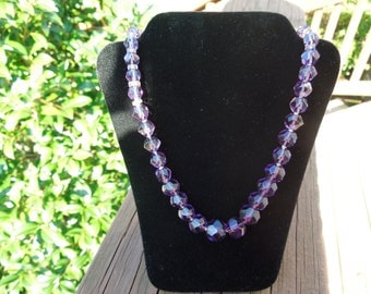 Vintage Purple Stone Necklace, Sterling Silver Clasp