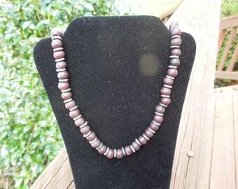 Vintage Bead Necklace, Unusual, Resin Beads (Dark Brown) and Metal Discs