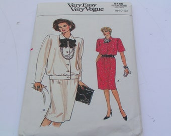 Vintage Vogue Pattern 9485 Misses Top Skirt