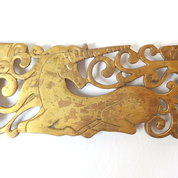 Vintage Whimsical Brass Unicorn Trivet/ Hot Plate