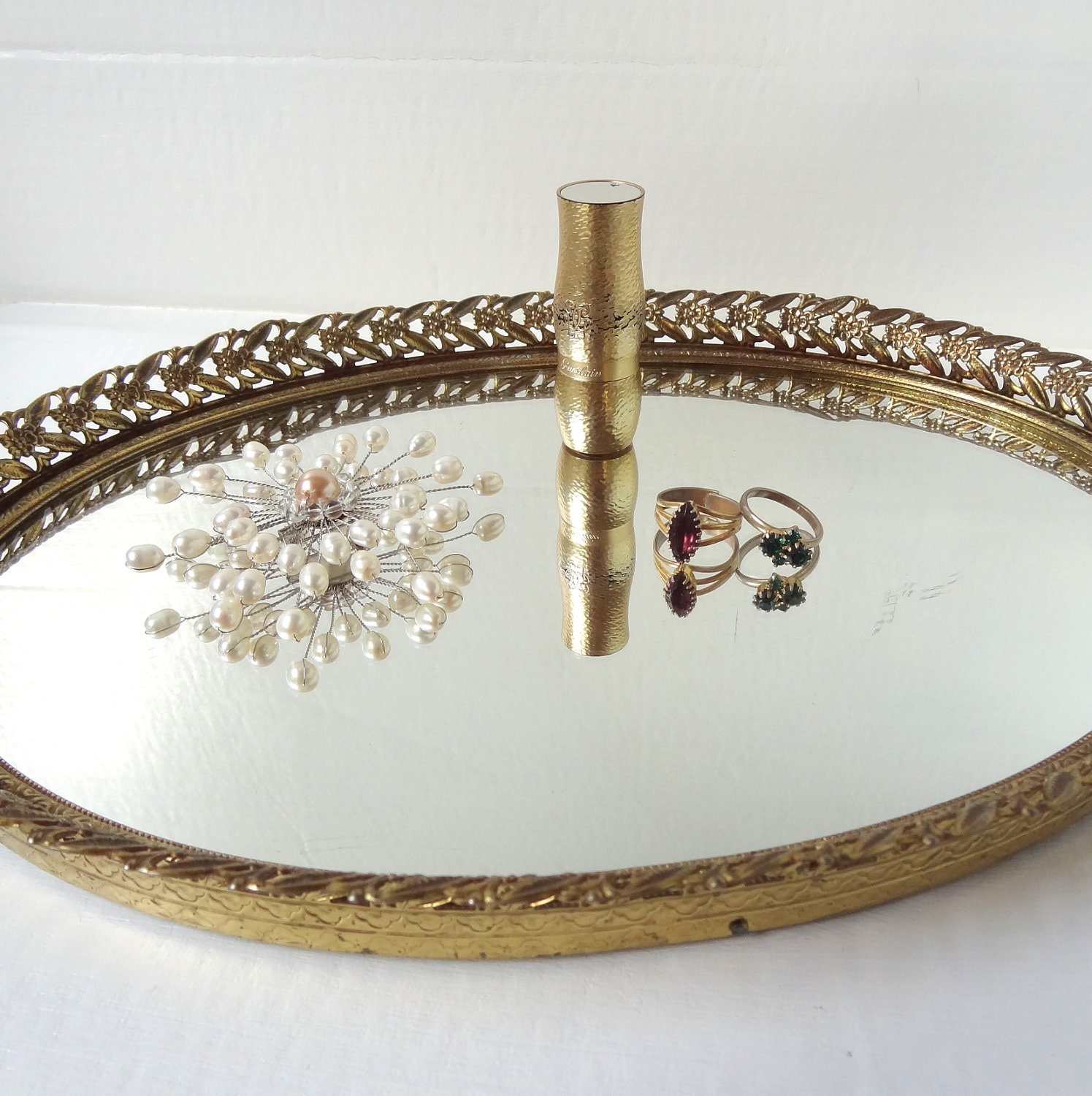 Vintage Mirrored Gold Vanity Tray by LaGypsyYaya on Etsy