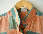 Vintage chess blouse  with a belt