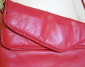 Vintage Bright Red Oversized Clutch with Long attached strap