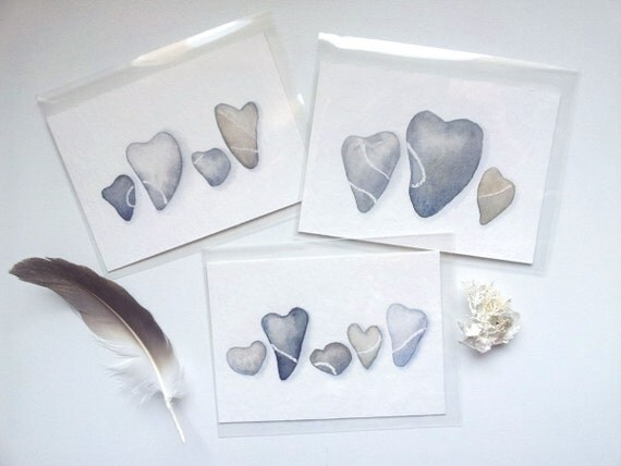 ACEO - Set of 3 original mini watercolor painting - Love is stronguer than rocks - Miniature cards - Blue gray heart pebbles