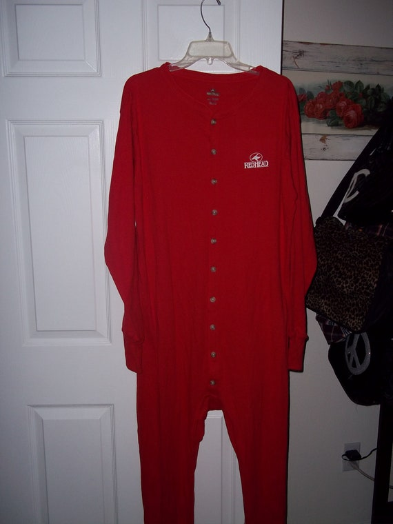 Men 39 S One Piece Red Pajamas With Back Flap By Pammyscloset