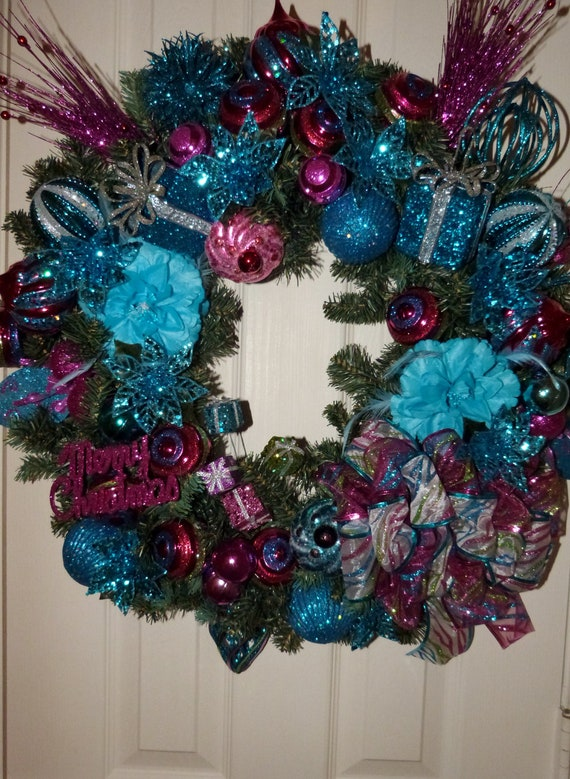Items Similar Christmas Decor Pink Teal And Fuschia Fully Loaded Wreath Ribbons Bows