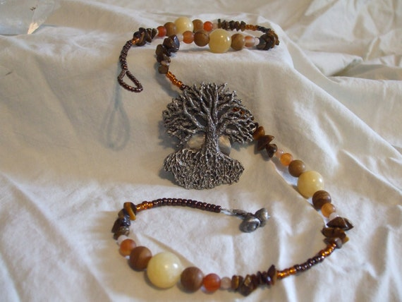 Tree of life necklace full moon woodland druid pict pagan earth mother wise woman necklace