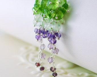 Spring Bridal Earrings Genuine Peridot Prehnite Amethyst Gemstone Purple Green Cluster Wedding Jewelry - Vineyard - Complimentary Shipping