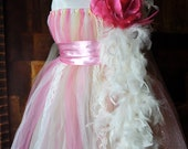 young lady feather light pink handmade princess tutu dress matching hair-bow headband custom order newborn to 7T