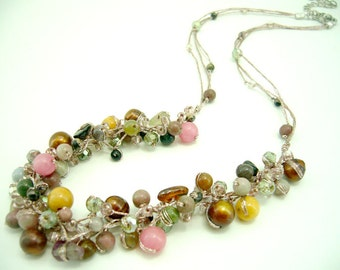 Multi brown freshwater pearl cherry quartz,crystal,hand-knotted on silk thread necklace